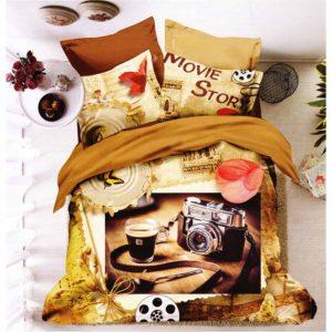 Movie Story fényképezőgép mintás ágynemű, 3D 7 részes pamut ágynemű garnitúra