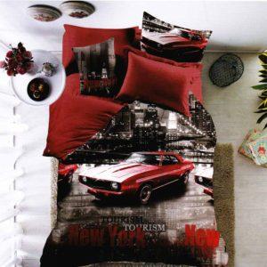 New York város és autó mintás ágynemű 3D 7 részes pamut ágynemű garnitúra