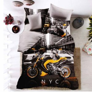 New York város és motor mintás ágynemű garnitúra, 3D 7 részes pamut ágynemű garnitúra