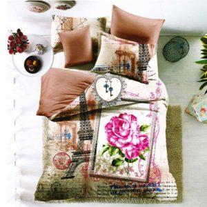 Párizsi és rózsa mintás ágynemű garnitúra, 3D 7 részes pamut ágynemű garnitúra