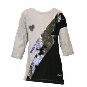 Szürke szív átfordítható flitteres pulóver póló
