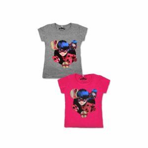 Miraculous póló szürke, rózsaszín