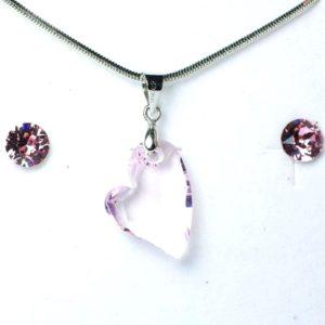 Aura rózsaszín Swarovski® kristályos ékszerszett - Ferde szív 17 mm