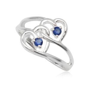 dupla szives ezüst gyűrű sötét kék cirkónia kristállyal-7