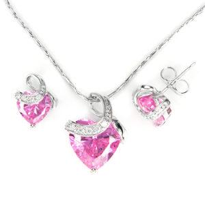 Exclusive Swarovski kristályos szett szív alakú rózsaszin  kővel