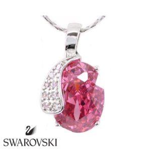 Swarovski kristályos nyaklánc hatalmas rózsaszín kővel
