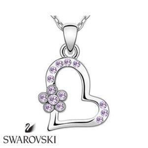 Swarovski kristályos nyaklánc szívecskés lila virágos medállal