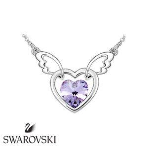 Swarovski kristályos szárnyaló szív medál lila kővel