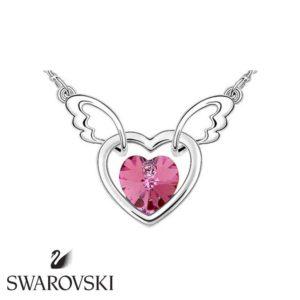 Swarovski kristályos szárnyaló szív medál pink kővel