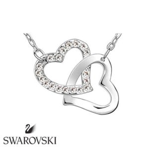 Swarovski kristályos dupla szíves medál