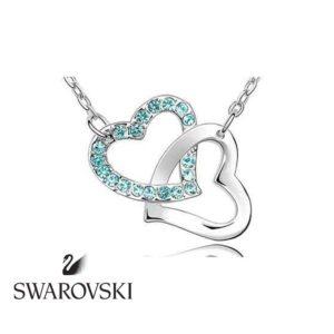 Swarovski kristályos dupla szives medál kék kővel