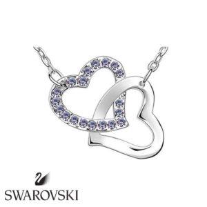 Swarovski kristályos dupla szíves medál lila kővel