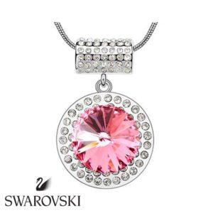 Swarovski kristályos nyaklánc nagy pink kővel