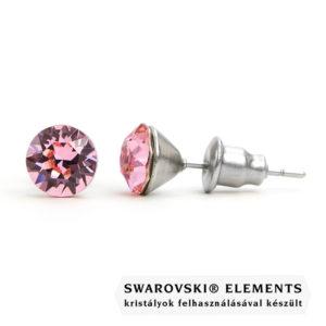 Jazzy rózsaszín Swarovski® kristályos fülbevaló - Kerek Light Rose