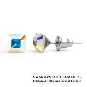 Jazzy színjátszó SWAROVSKI® kristályos fülbevaló - Négyzet Crystal AB
