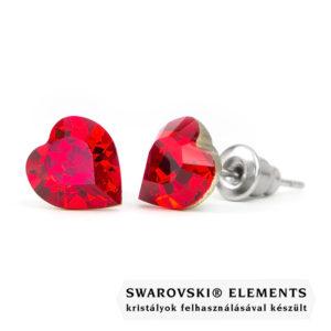 Jazzy piros Swarovski® kristályos fülbevaló - Szív Light Siam - 10mm