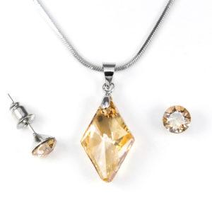 Aura arany színű Swarovski® kristályos ékszerszett - Rhombus 19 mm