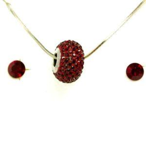 Aura piros Swarovski® kristályos ékszerszett - Pavé Beads 14 mm