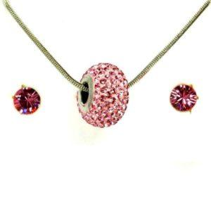 Aura rózsaszín Swarovski® kristályos ékszerszett - Pavé Beads 14 mm