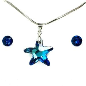 Aura kék Swarovski® kristályos ékszerszett - Starfish 20 mm