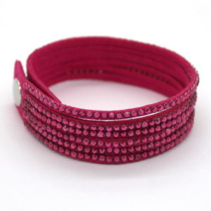 6 soros bőr karkötő - pink