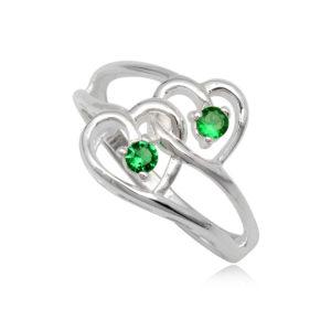 dupla szives ezüst gyűrű zöld cirkónia kristállyal-8