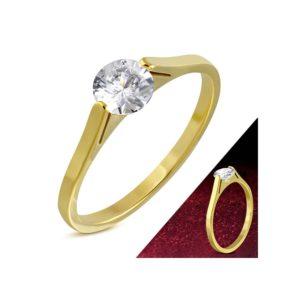 Até - Arany színű nemesacél gyűrű ékszer, cirkónia kristállyal-7