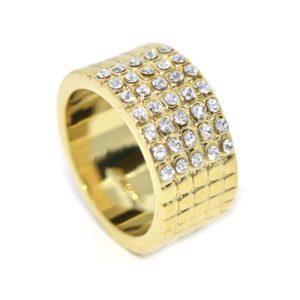 Swarovski kristályos Arany színű Széles gyűrű